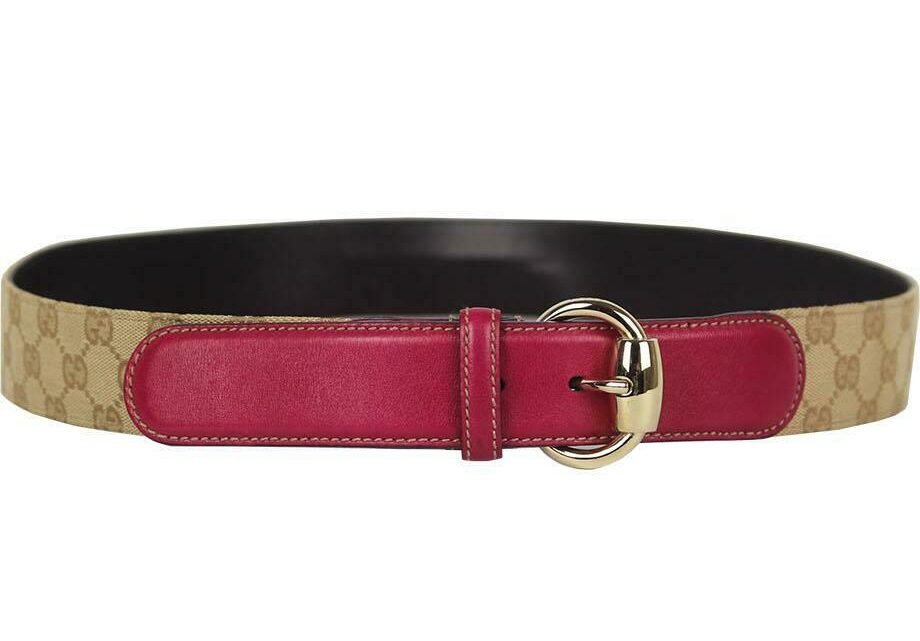 GUCCI LEATHER TRIMMED CANVAS BELT 100