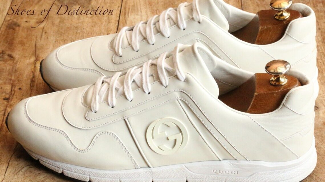 Men's Gucci Monogram Logo White Leather Shoes Trainers Sneakers UK 10.5 US 11.5