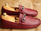 Men's Gucci Red Leather Silver Bit Loafer Shoes UK 6.5  US 7.5 EU 40.5